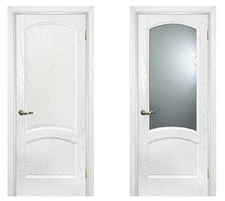 Дверные белые полотна со стеклянной и глухой вставкой